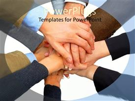 PowerPoint template displaying a number of people putting their hands on one another's