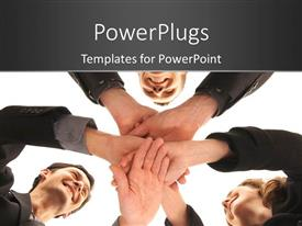 PowerPoint template displaying a number of people putting their hands together with white background