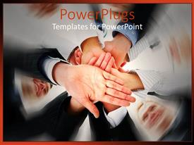 PowerPoint template displaying a number of people putting their hands together