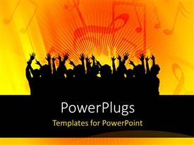 PowerPlugs: PowerPoint template with a number of people putting their hands up with yellowish background