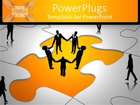 PowerPlugs: PowerPoint template with a number of people on a puzzle piece