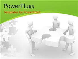 PowerPlugs: PowerPoint template with a number of people with a puzzle piece and white background