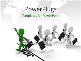 PowerPlugs: PowerPoint template with a number of people in the race with map in the background