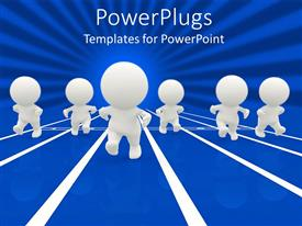 PowerPlugs: PowerPoint template with a number of people on a race track with bluish background