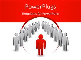 PowerPlugs: PowerPoint template with a number of people with a reddish background