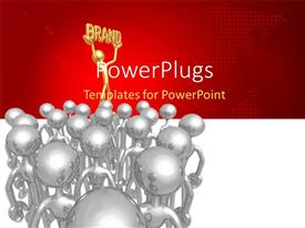 PowerPlugs: PowerPoint template with a number of people with reddish background
