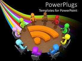 PowerPlugs: PowerPoint template with a number of people on a round table with a wifi sign