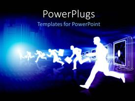 PowerPoint template displaying a number of people running with a bluish background