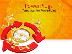 PowerPlugs: PowerPoint template with a number of people running in circles with orange background
