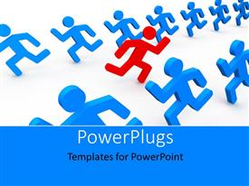 PowerPlugs: PowerPoint template with a number of people running in different directions