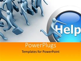 PowerPoint template displaying a number of people running for help