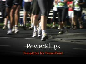 PowerPlugs: PowerPoint template with a number of people running in a marathon