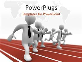 PowerPlugs: PowerPoint template with a number of people running in a race