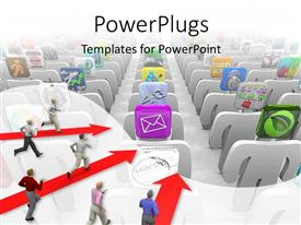 PowerPlugs: PowerPoint template with a number of people running towards various applications