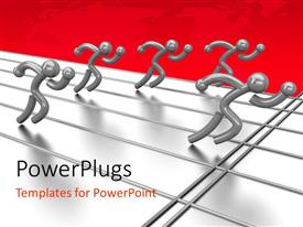 PowerPlugs: PowerPoint template with a number of people running on a track