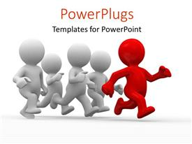 PowerPlugs: PowerPoint template with a number of people running with white background