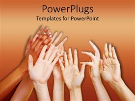 PowerPoint template displaying a number of people showing their hands