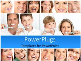 PowerPlugs: PowerPoint template with a number of people showing their healthy teeth