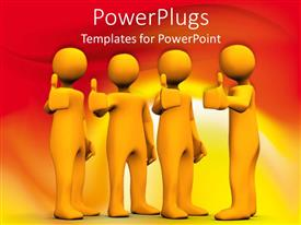 PowerPlugs: PowerPoint template with a number of people showing thumbs up with orange background