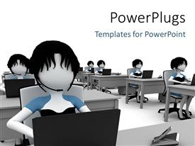PowerPlugs: PowerPoint template with a number of people sitting in a classroom