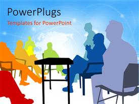 PowerPlugs: PowerPoint template with a number of people sitting and talking to each other
