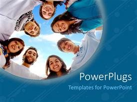 PowerPoint template displaying a number of people with sky in the background