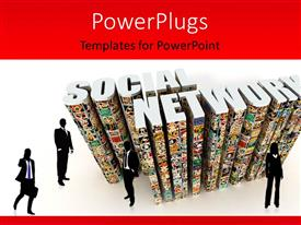 PowerPoint template displaying a number of people with the social network