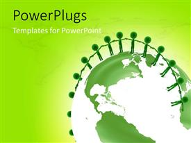 PowerPlugs: PowerPoint template with a number of people standing on the ball with greenish background