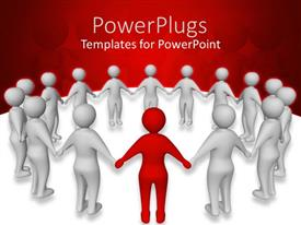 Beautiful PPT theme with a number of people standing in a circle