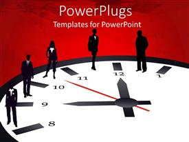 PowerPlugs: PowerPoint template with a number of people standing on a clock