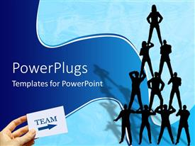 PowerPoint template displaying a number of people standing on each other's shoulders