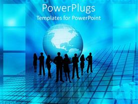 PowerPlugs: PowerPoint template with a number of people standing in front of the globe