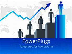 PowerPlugs: PowerPoint template with a number of people standing on a growth chart