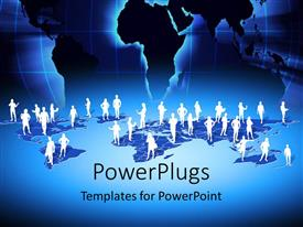 PowerPlugs: PowerPoint template with a number of people standing on map of the Earth