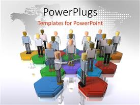 PowerPoint template displaying a number of people standing o colorful pieces with map in the background
