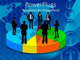 PowerPlugs: PowerPoint template with a number of people standing together on a circle talking to each other