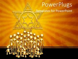 PowerPlugs: PowerPoint template with a number of people standing together with golden background