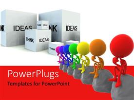 PowerPlugs: PowerPoint template with a number of people with stones and boxes in background