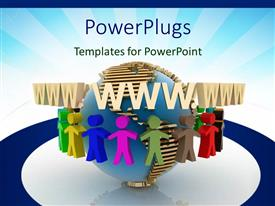 PowerPlugs: PowerPoint template with a number of people surrounding the globe with bluish background
