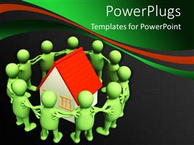 PowerPlugs: PowerPoint template with a number of people surrounding a house