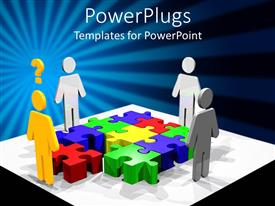 PowerPlugs: PowerPoint template with a number of people surrounding the jigsaw puzzle