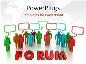 PowerPlugs: PowerPoint template with a number of people thinking with map in the background