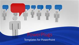PowerPoint template displaying a number of people thinking same and one of them thinking in a different way