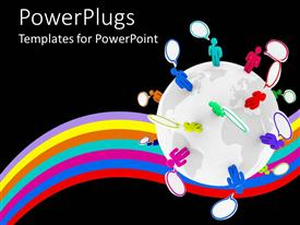 PowerPlugs: PowerPoint template with a number of people thinking while standing on the globe