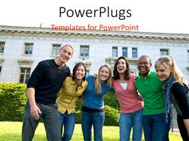 PowerPoint template displaying a number of people together with a building in the background