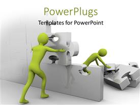 PowerPlugs: PowerPoint template with a number of people trying to complete a jihsaw puzzle