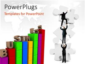 PowerPlugs: PowerPoint template with a number of people trying to do a job with map in the background