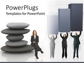 PowerPlugs: PowerPoint template with a number of people trying to lift the growth chart