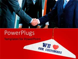 PowerPlugs: PowerPoint template with a number of people with two professionals shaking their hands