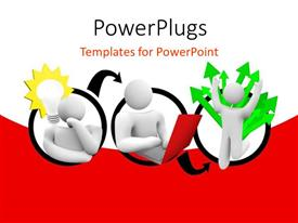 PowerPlugs: PowerPoint template with a number of people with various signs and red background